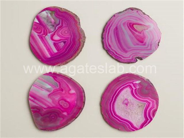 Pink agate coaster (2)